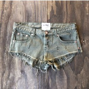 One Teaspoon Distressed Olive Jean Shorts